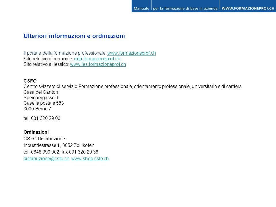 Ulteriori informazioni e ordinazioni Il portale della formazione professionale: www.formazioneprof.chwww.formazioneprof.ch Sito relativo al manuale: m