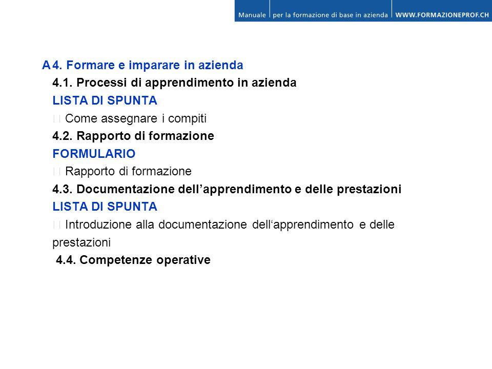 A4. Formare e imparare in azienda 4.1. Processi di apprendimento in azienda LISTA DI SPUNTA Come assegnare i compiti 4.2. Rapporto di formazione FORMU