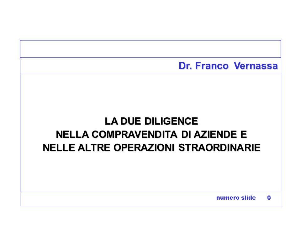 numero slide 0 Dr. Franco Vernassa LA DUE DILIGENCE NELLA COMPRAVENDITA DI AZIENDE E NELLE ALTRE OPERAZIONI STRAORDINARIE