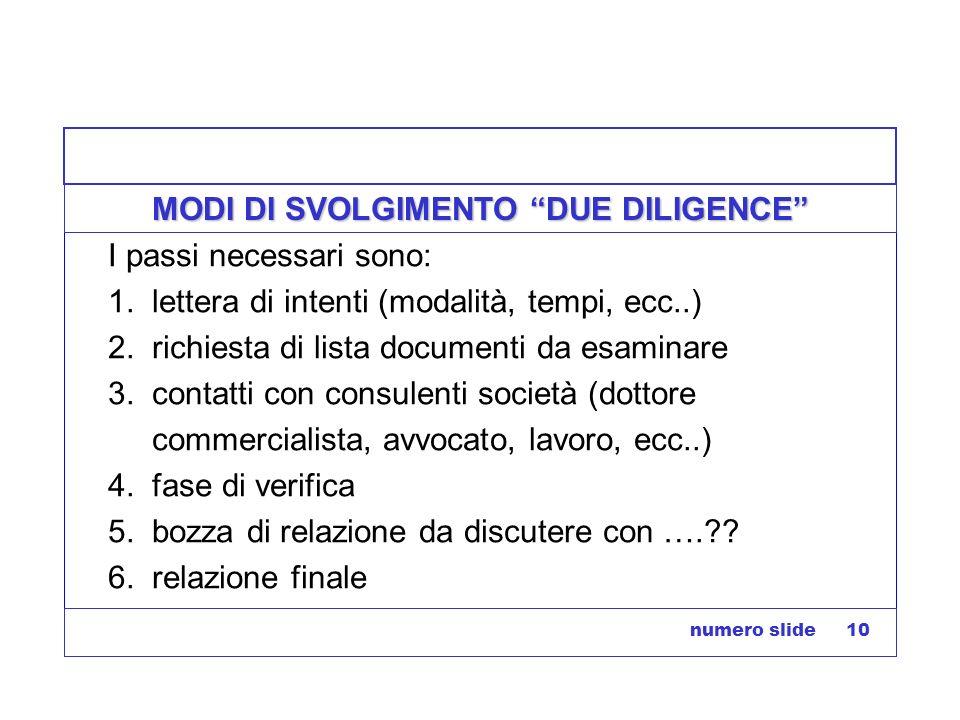 numero slide 10 MODI DI SVOLGIMENTO DUE DILIGENCE I passi necessari sono: 1. lettera di intenti (modalità, tempi, ecc..) 2. richiesta di lista documen
