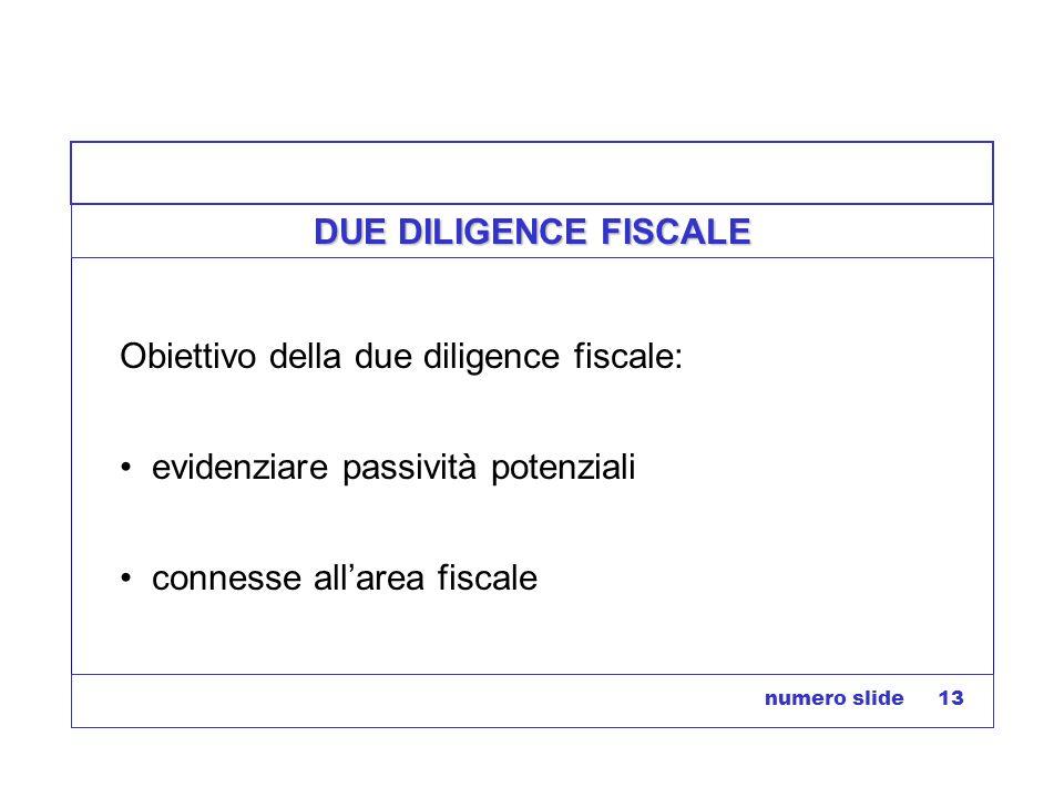 numero slide 13 DUE DILIGENCE FISCALE Obiettivo della due diligence fiscale: evidenziare passività potenziali connesse allarea fiscale