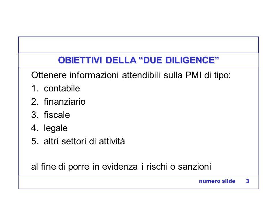 numero slide 3 OBIETTIVI DELLA DUE DILIGENCE Ottenere informazioni attendibili sulla PMI di tipo: 1. contabile 2. finanziario 3. fiscale 4. legale 5.