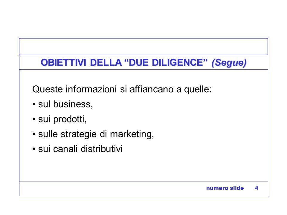 numero slide 4 OBIETTIVI DELLA DUE DILIGENCE (Segue) Queste informazioni si affiancano a quelle: sul business, sui prodotti, sulle strategie di market