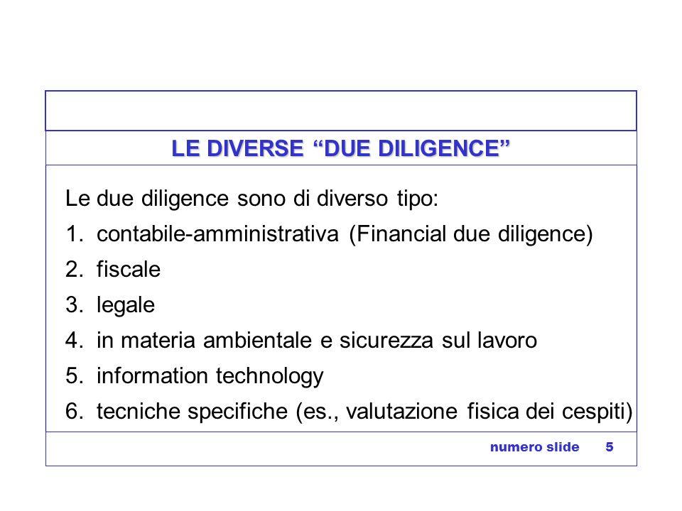numero slide 5 LE DIVERSE DUE DILIGENCE Le due diligence sono di diverso tipo: 1. contabile-amministrativa (Financial due diligence) 2. fiscale 3. leg