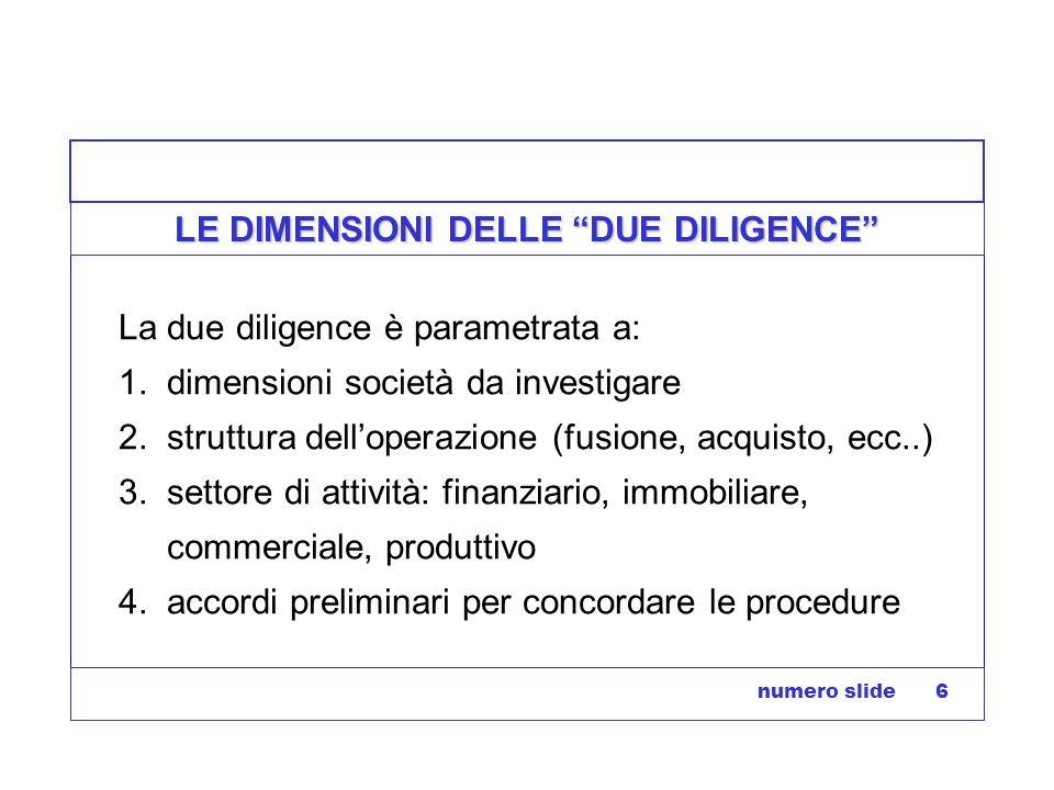 numero slide 6 LE DIMENSIONI DELLE DUE DILIGENCE La due diligence è parametrata a: 1. dimensioni società da investigare 2. struttura delloperazione (f