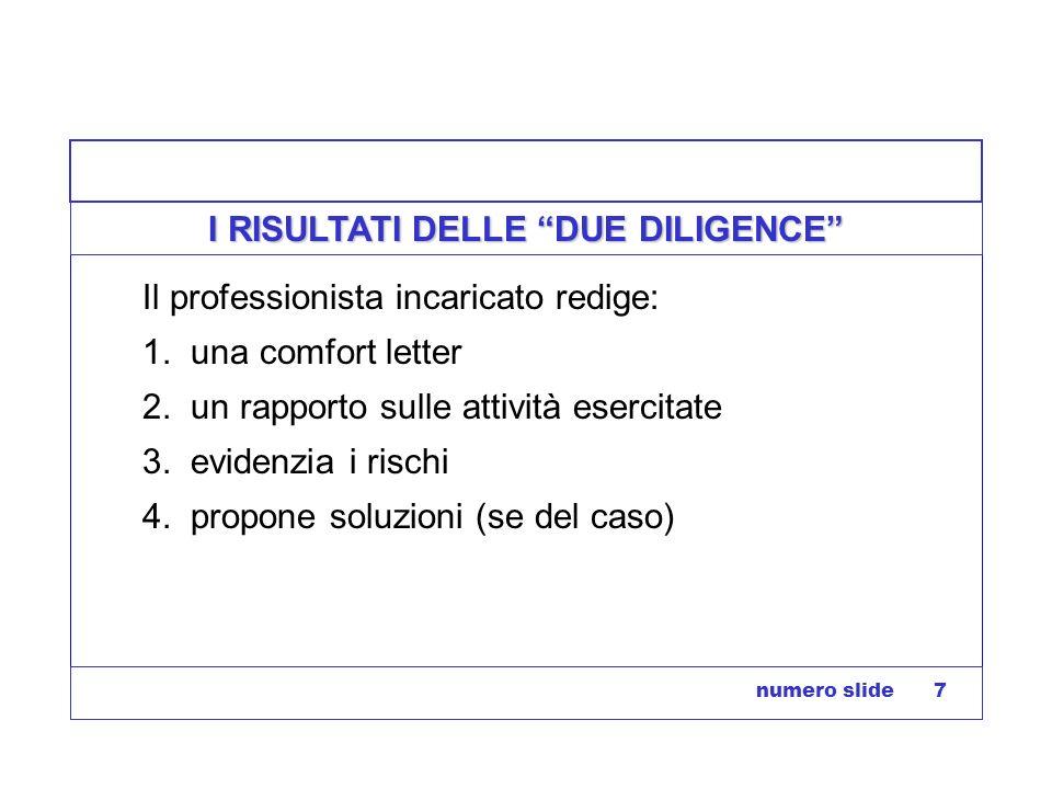 numero slide 7 I RISULTATI DELLE DUE DILIGENCE Il professionista incaricato redige: 1. una comfort letter 2. un rapporto sulle attività esercitate 3.