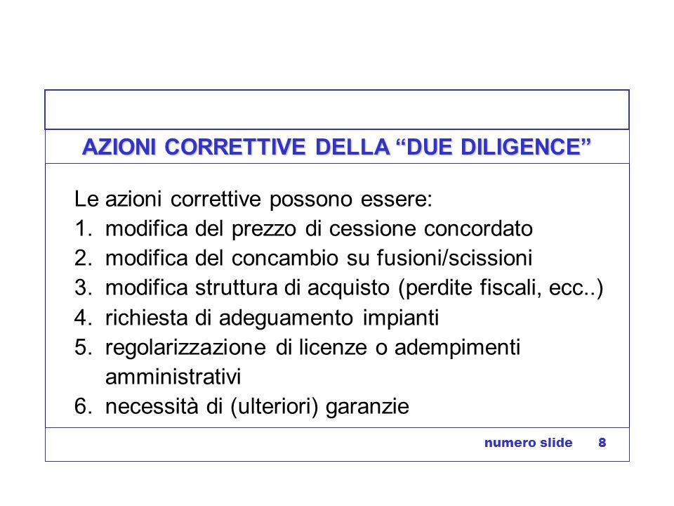 numero slide 8 AZIONI CORRETTIVE DELLA DUE DILIGENCE Le azioni correttive possono essere: 1. modifica del prezzo di cessione concordato 2. modifica de