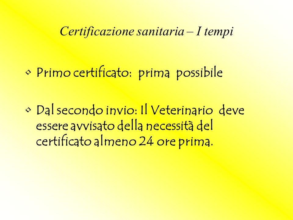 Primo certificato: prima possibile Dal secondo invio: Il Veterinario deve essere avvisato della necessità del certificato almeno 24 ore prima. Certifi