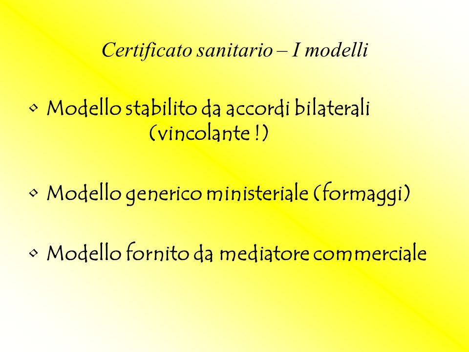 Modello stabilito da accordi bilaterali (vincolante !) Modello generico ministeriale (formaggi) Modello fornito da mediatore commerciale Certificato s