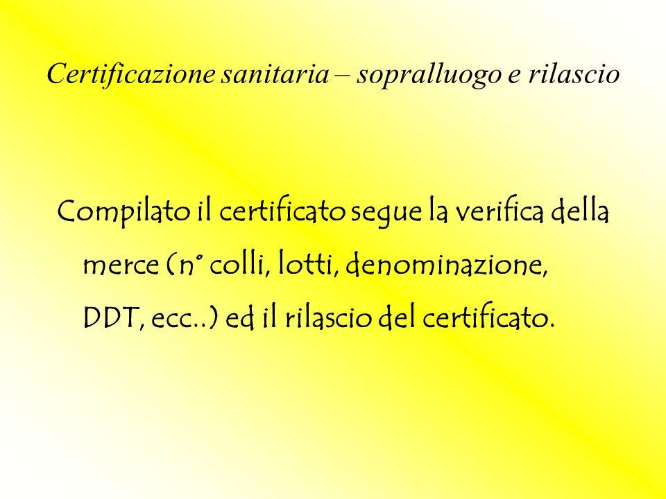 Compilato il certificato segue la verifica della merce (n° colli, lotti, denominazione, DDT, ecc..) ed il rilascio del certificato. Certificazione san