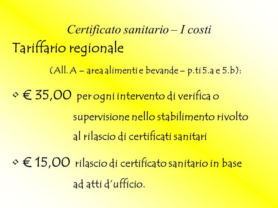 Tariffario regionale (All. A – area alimenti e bevande – p.ti 5.a e 5.b): 35,00 per ogni intervento di verifica o supervisione nello stabilimento rivo