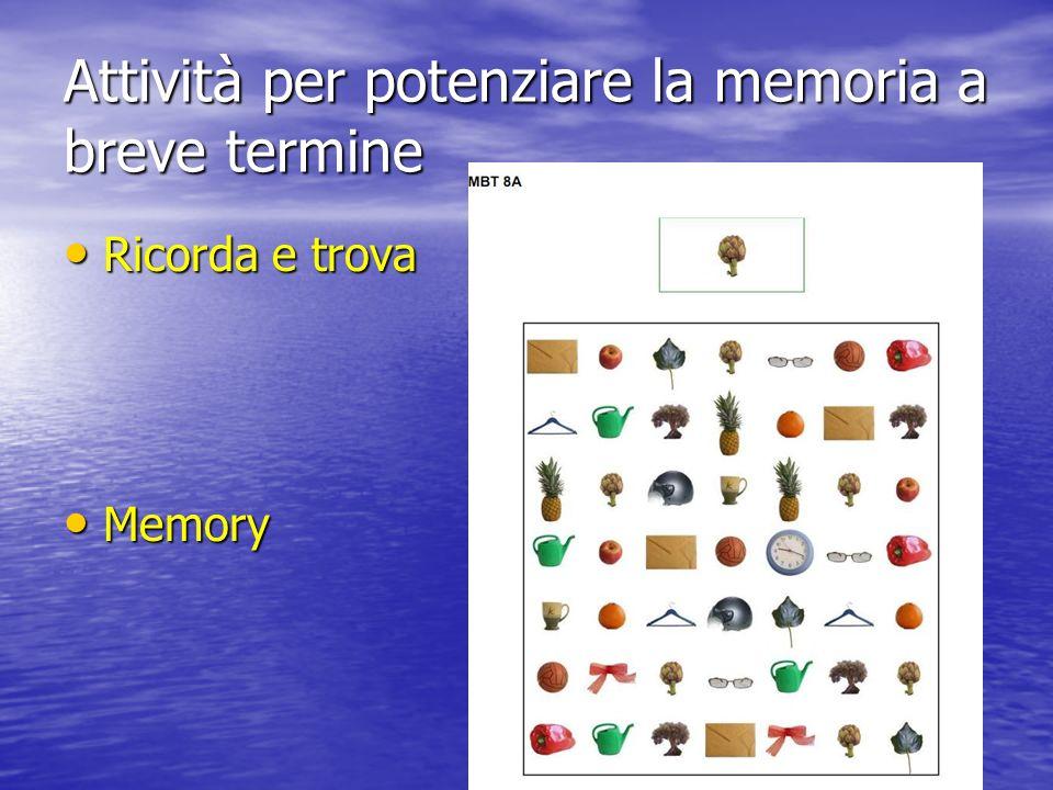 Attività per potenziare la memoria a breve termine Ricorda e trova Ricorda e trova Memory Memory