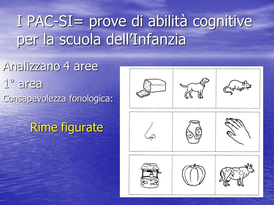 I PAC-SI= prove di abilità cognitive per la scuola dellInfanzia Analizzano 4 aree 1° area Consapevolezza fonologica: Rime figurate