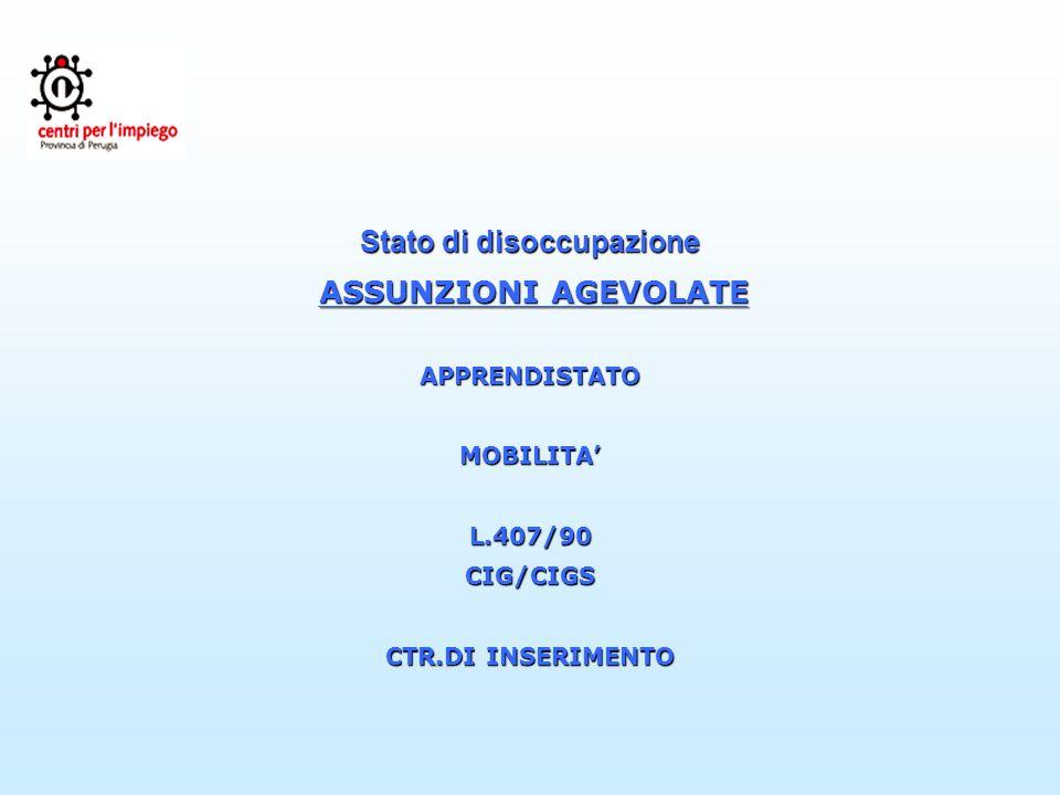 Stato di disoccupazione ASSUNZIONI AGEVOLATE ASSUNZIONI AGEVOLATEAPPRENDISTATOMOBILITAL.407/90CIG/CIGS CTR.DI INSERIMENTO