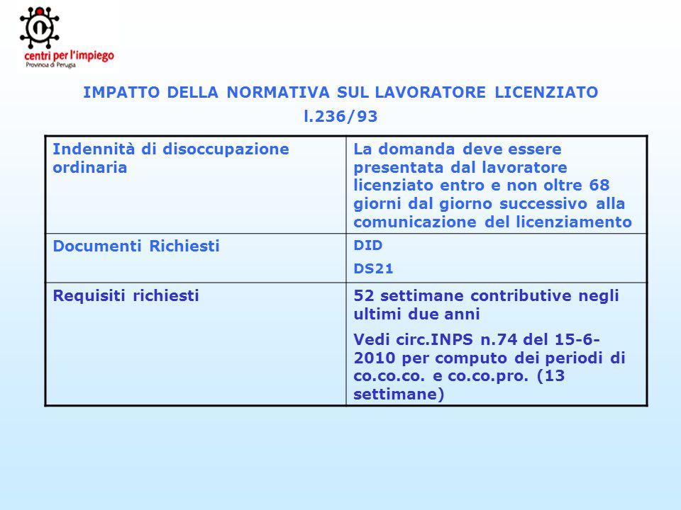 IMPATTO DELLA NORMATIVA SUL LAVORATORE LICENZIATO l.236/93 Indennità di disoccupazione ordinaria La domanda deve essere presentata dal lavoratore lice