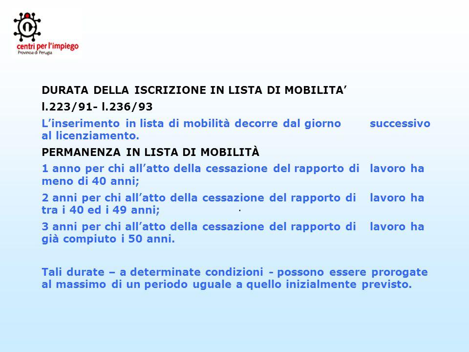 . DURATA DELLA ISCRIZIONE IN LISTA DI MOBILITA l.223/91- l.236/93 Linserimento in lista di mobilità decorre dal giorno successivo al licenziamento. PE