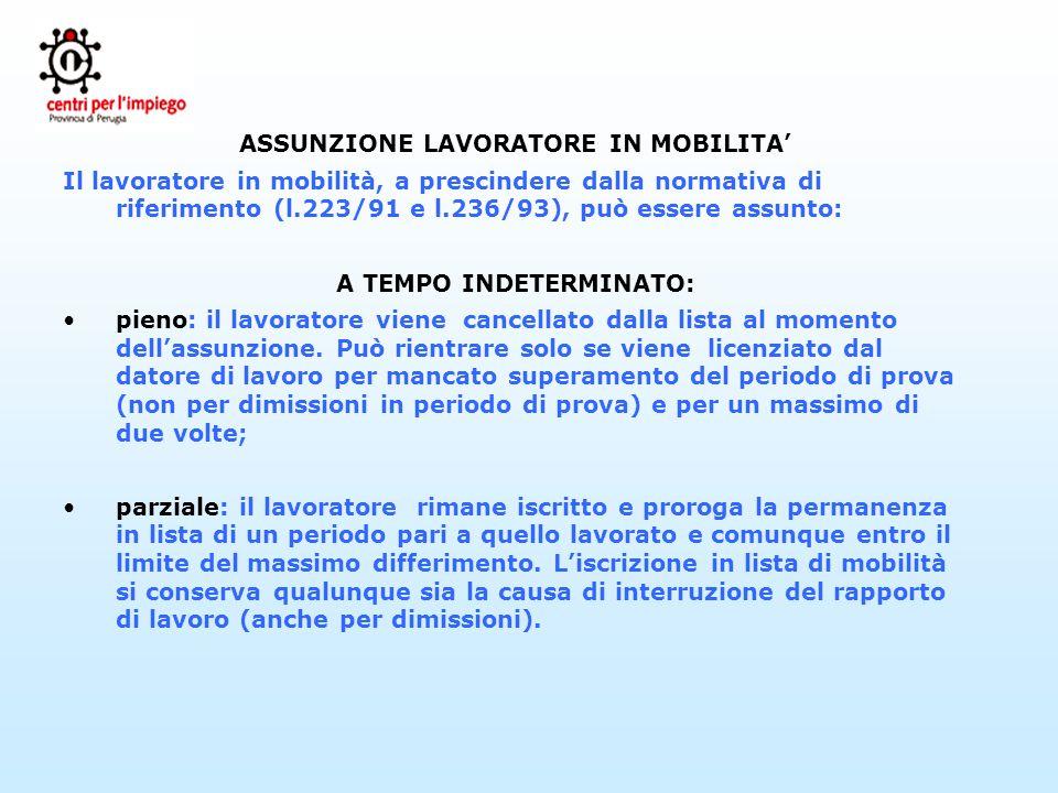 ASSUNZIONE LAVORATORE IN MOBILITA Il lavoratore in mobilità, a prescindere dalla normativa di riferimento (l.223/91 e l.236/93), può essere assunto: A