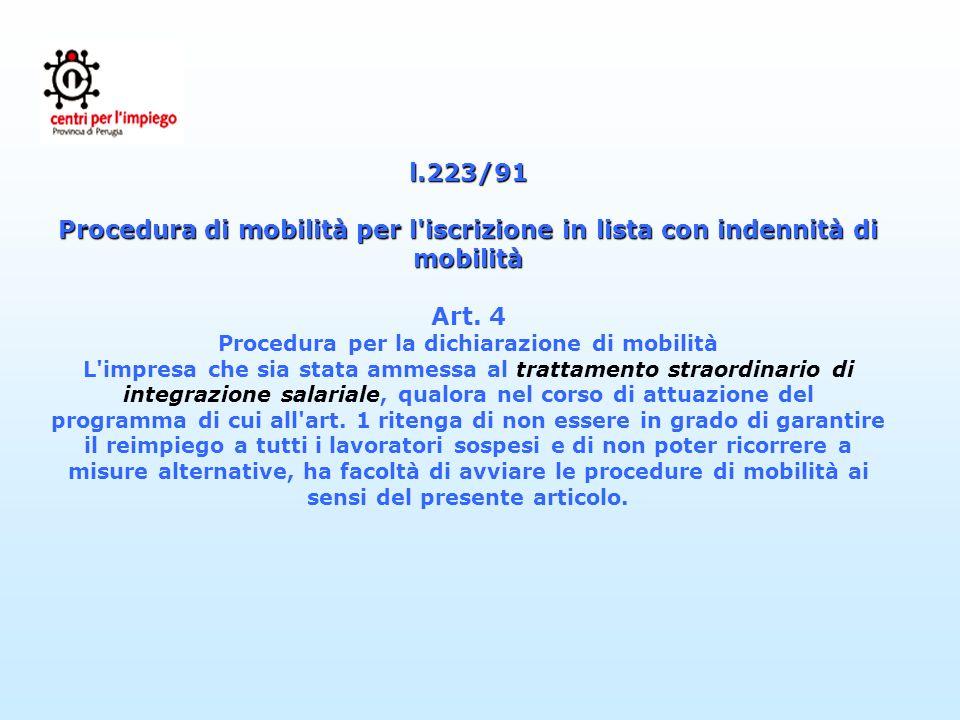 l.223/91 Procedura di mobilità per l'iscrizione in lista con indennità di mobilità l.223/91 Procedura di mobilità per l'iscrizione in lista con indenn
