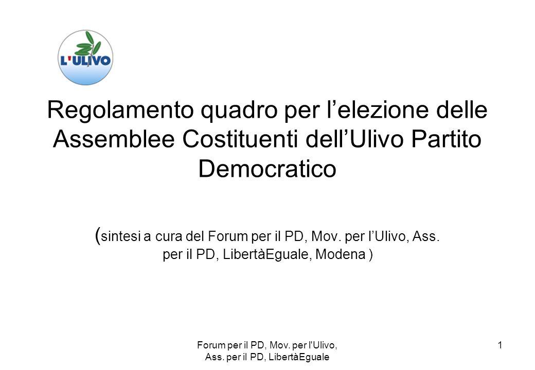 Forum per il PD, Mov.per l Ulivo, Ass.