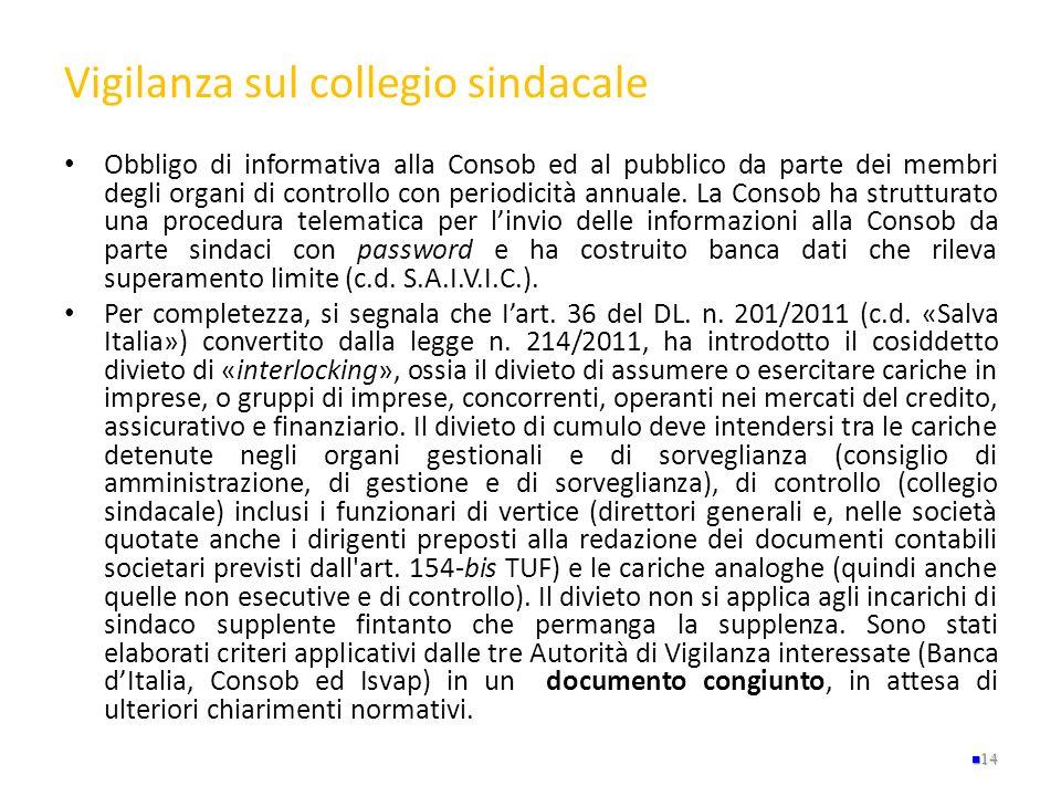 Vigilanza sul collegio sindacale Obbligo di informativa alla Consob ed al pubblico da parte dei membri degli organi di controllo con periodicità annua