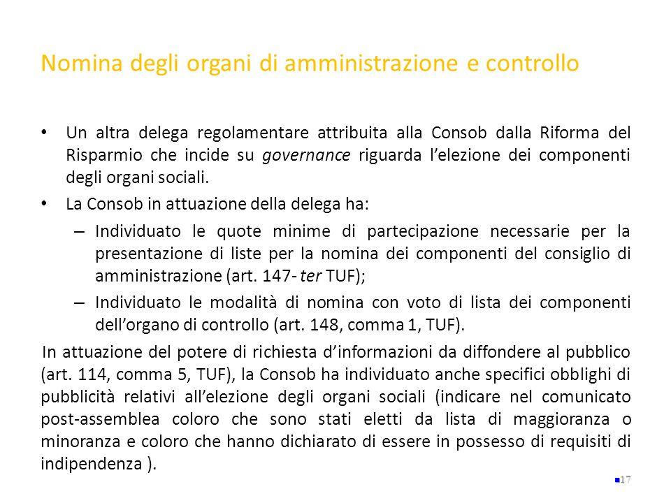 Nomina degli organi di amministrazione e controllo Un altra delega regolamentare attribuita alla Consob dalla Riforma del Risparmio che incide su gove