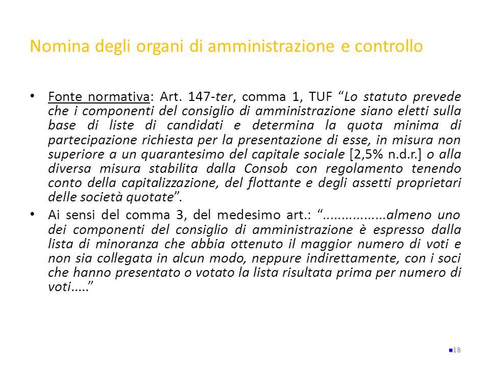 Nomina degli organi di amministrazione e controllo Fonte normativa: Art. 147-ter, comma 1, TUF Lo statuto prevede che i componenti del consiglio di am