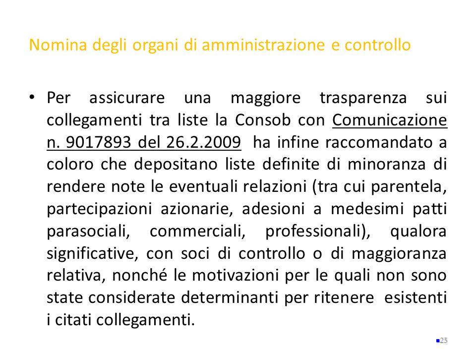 Nomina degli organi di amministrazione e controllo Per assicurare una maggiore trasparenza sui collegamenti tra liste la Consob con Comunicazione n. 9