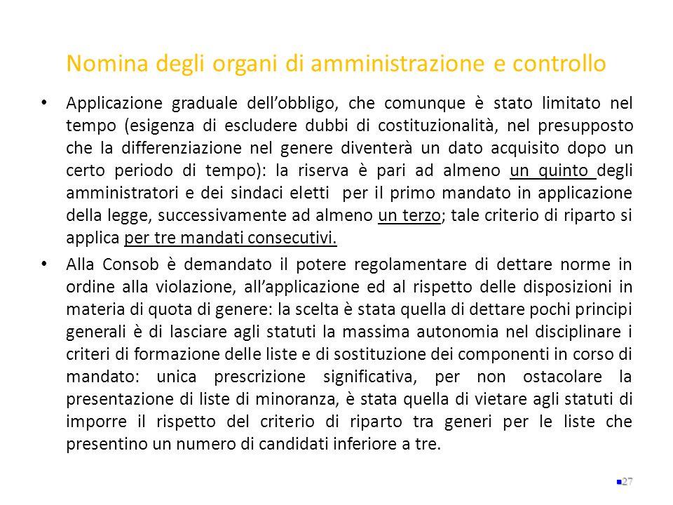 Nomina degli organi di amministrazione e controllo Applicazione graduale dellobbligo, che comunque è stato limitato nel tempo (esigenza di escludere d