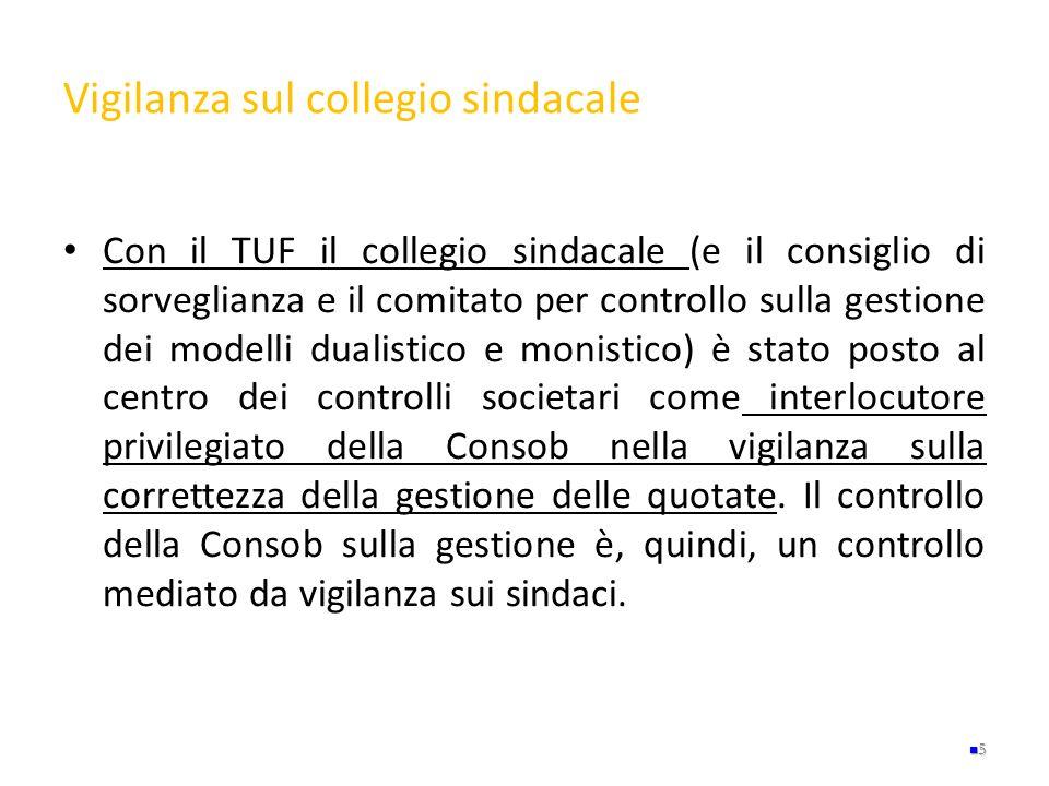 Vigilanza sul collegio sindacale Con il TUF il collegio sindacale (e il consiglio di sorveglianza e il comitato per controllo sulla gestione dei model