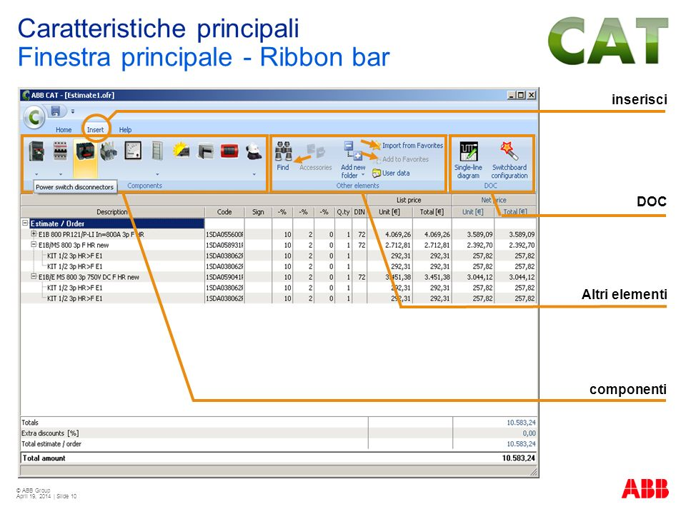 © ABB Group April 19, 2014 | Slide 10 inserisci componenti Altri elementi DOC Caratteristiche principali Finestra principale - Ribbon bar