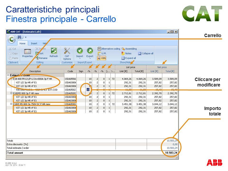 © ABB Group April 19, 2014 | Slide 11 Carrello Importo totale Cliccare per modificare Caratteristiche principali Finestra principale - Carrello