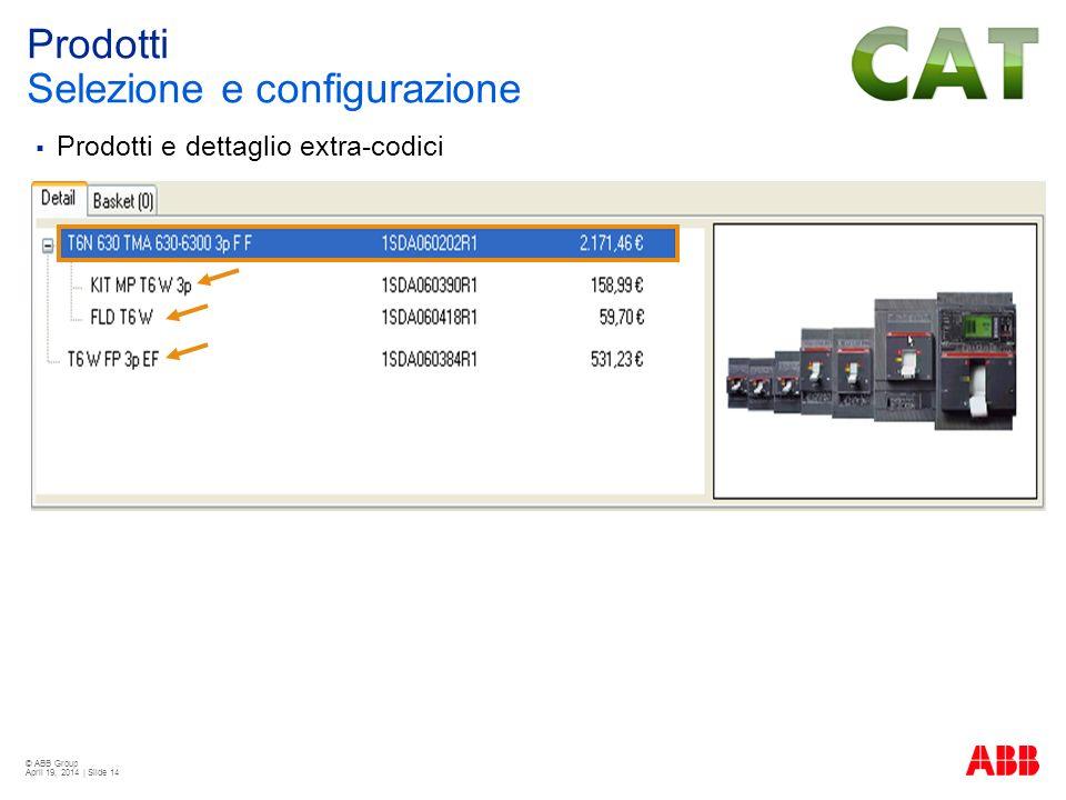 © ABB Group April 19, 2014 | Slide 14 Prodotti e dettaglio extra-codici Prodotti Selezione e configurazione