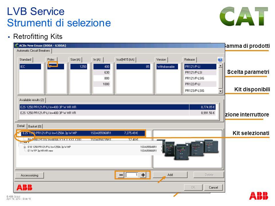 © ABB Group April 19, 2014 | Slide 18 Retrofitting Kits Gamma di prodotti Kit disponibili Selezione interruttore Kit selezionati Scelta parametri LVB
