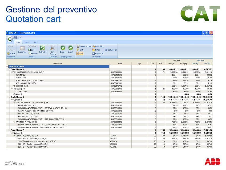© ABB Group April 19, 2014 | Slide 21 Gestione del preventivo Quotation cart