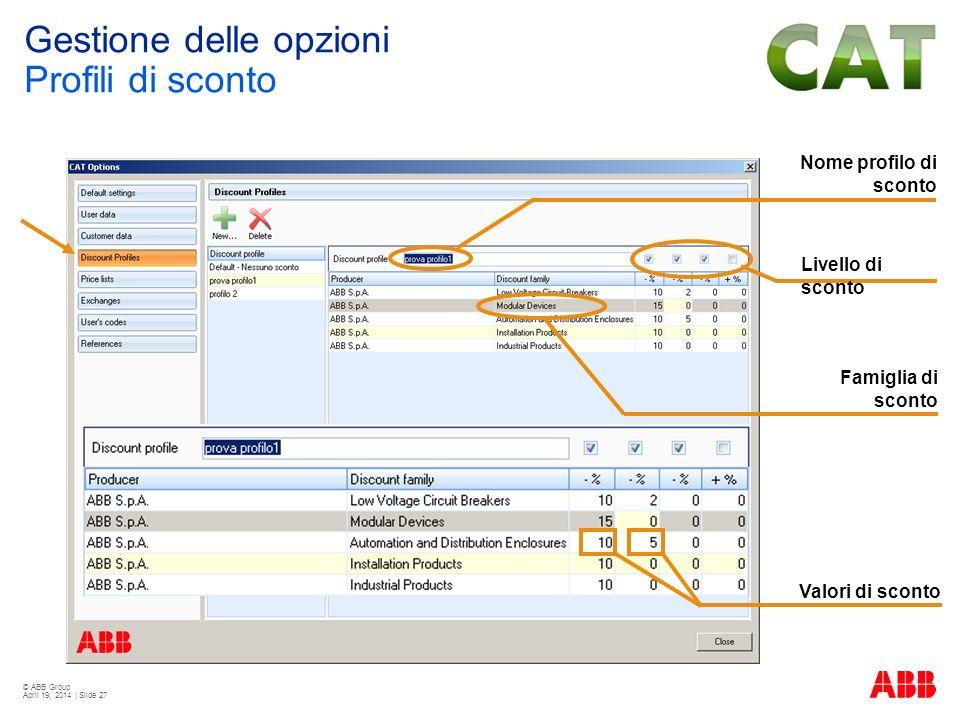 © ABB Group April 19, 2014 | Slide 27 Nome profilo di sconto Livello di sconto Famiglia di sconto Valori di sconto Gestione delle opzioni Profili di s