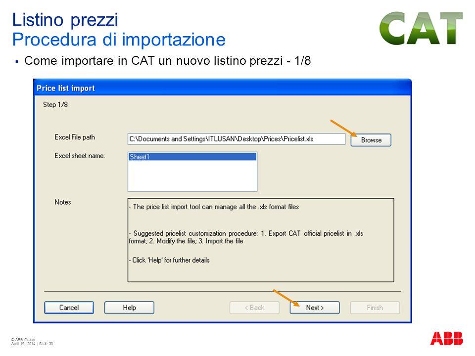 © ABB Group April 19, 2014 | Slide 30 Listino prezzi Procedura di importazione Come importare in CAT un nuovo listino prezzi - 1/8