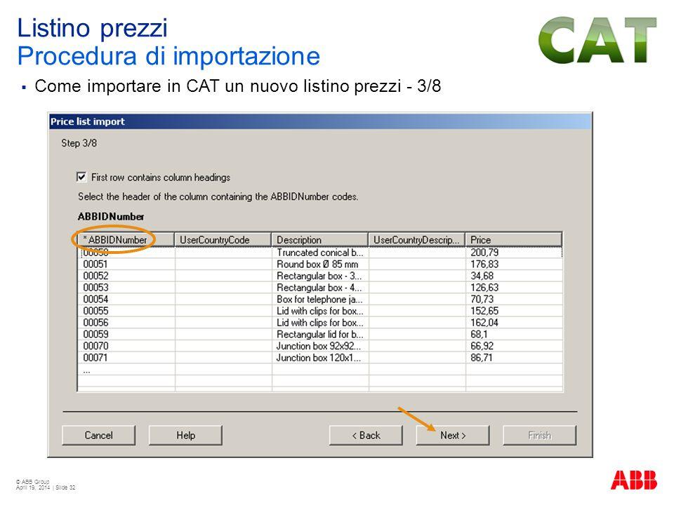 © ABB Group April 19, 2014 | Slide 32 Listino prezzi Procedura di importazione Come importare in CAT un nuovo listino prezzi - 3/8