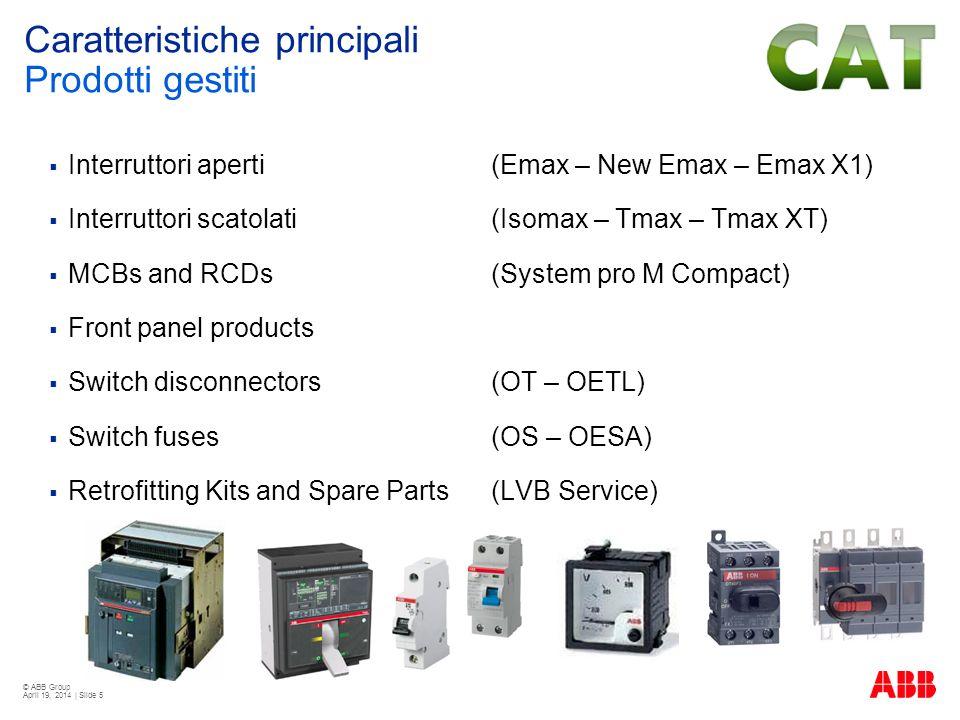 © ABB Group April 19, 2014 | Slide 5 Interruttori aperti (Emax – New Emax – Emax X1) Interruttori scatolati (Isomax – Tmax – Tmax XT) MCBs and RCDs (S