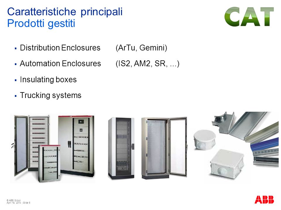 © ABB Group April 19, 2014 | Slide 6 Distribution Enclosures (ArTu, Gemini) Automation Enclosures (IS2, AM2, SR,...) Insulating boxes Trucking systems