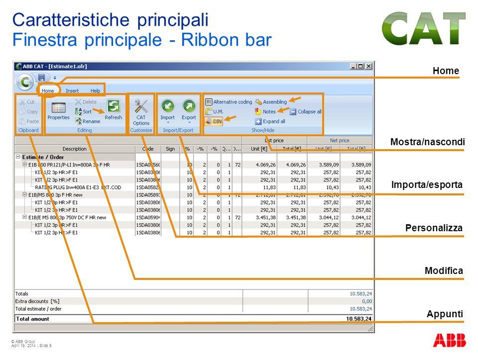 © ABB Group April 19, 2014 | Slide 9 Home Appunti Importa/esporta Personalizza Modifica Mostra/nascondi Caratteristiche principali Finestra principale