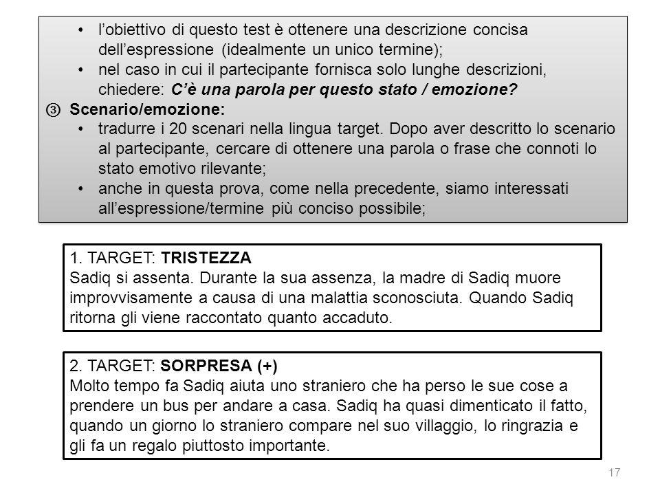 17 lobiettivo di questo test è ottenere una descrizione concisa dellespressione (idealmente un unico termine); nel caso in cui il partecipante fornisc