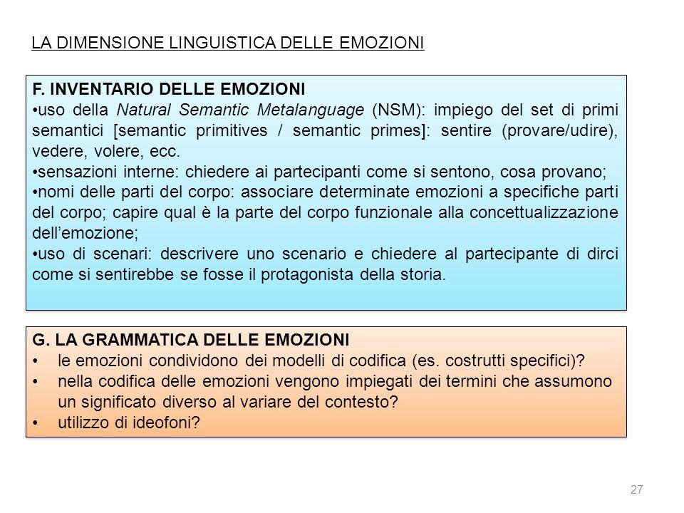 27 F. INVENTARIO DELLE EMOZIONI uso della Natural Semantic Metalanguage (NSM): impiego del set di primi semantici [semantic primitives / semantic prim