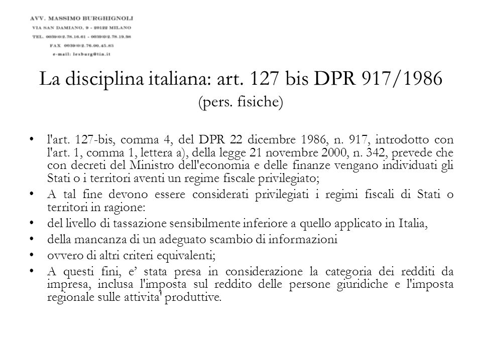 La disciplina italiana: art.110 comma 11 del D.P.R.