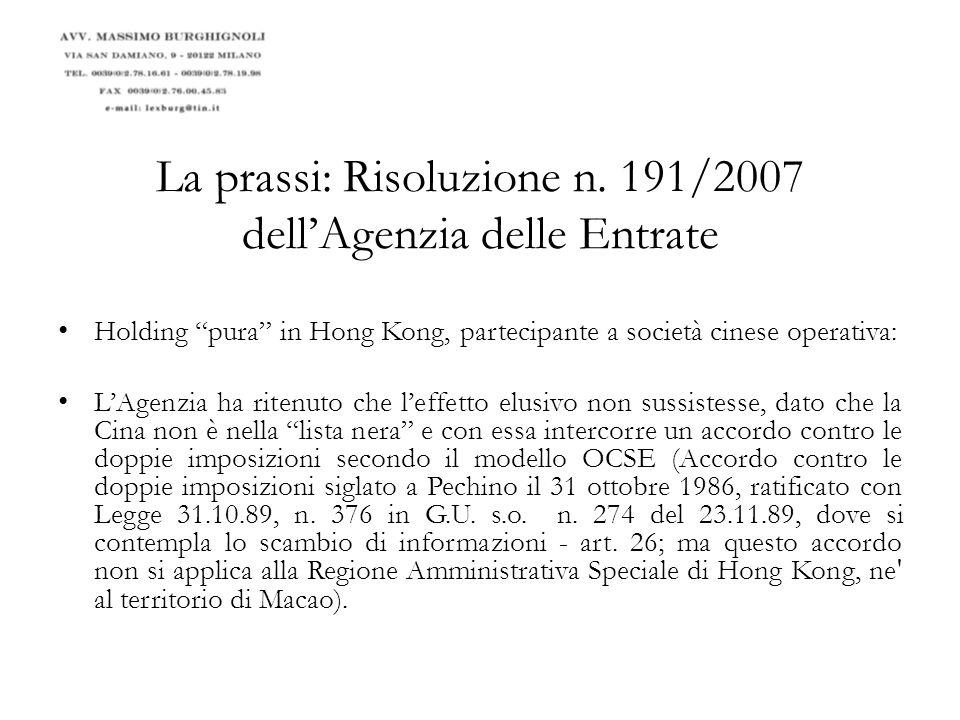 La prassi: Circolare n.51/E dellAgenzia delle Entrate Il par.