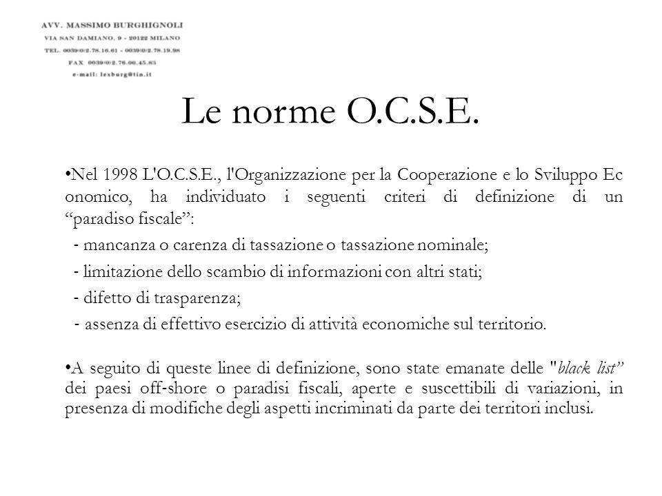 Le norme O.C.S.E.26 giugno 2000: report O.C.S.E.