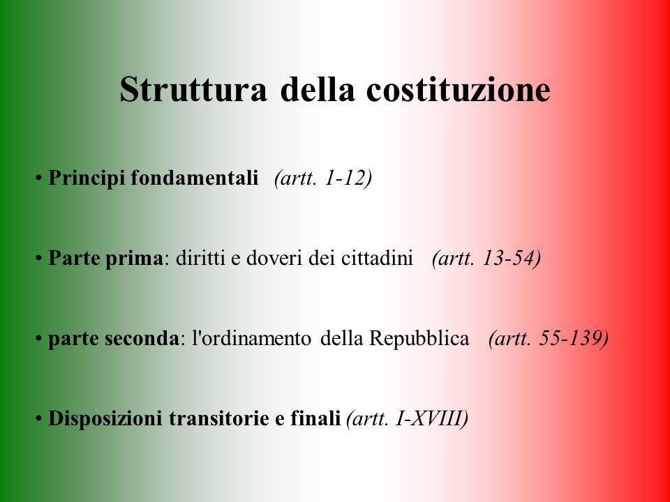 Struttura della costituzione Principi fondamentali (artt. 1-12) Parte prima: diritti e doveri dei cittadini (artt. 13-54) parte seconda: l'ordinamento
