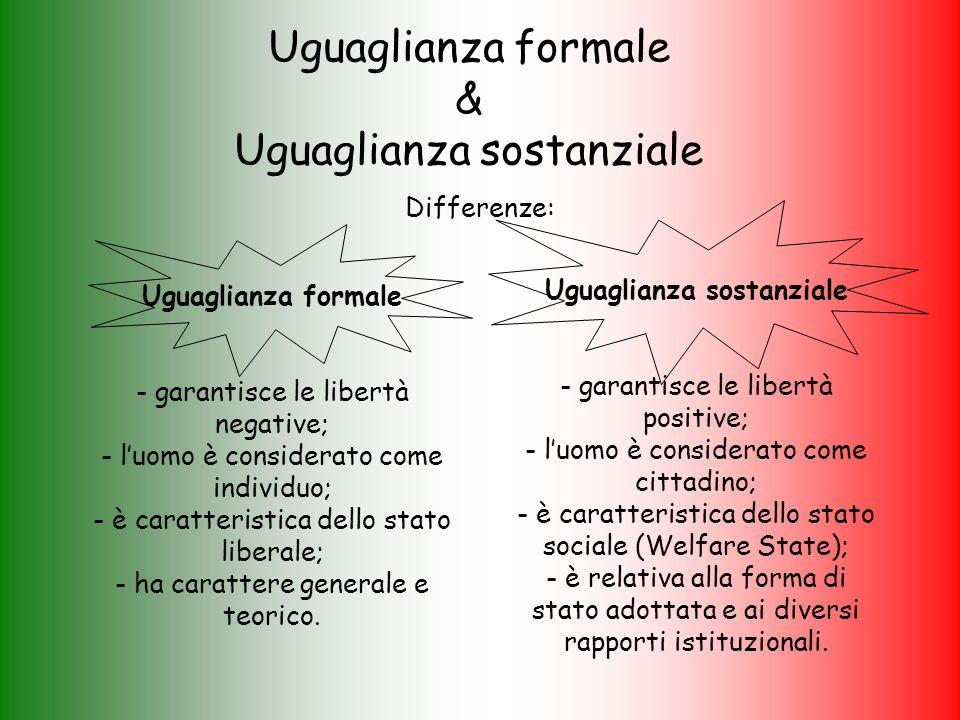 Uguaglianza formale & Uguaglianza sostanziale Differenze: Uguaglianza formale - garantisce le libertà negative; - luomo è considerato come individuo; - è caratteristica dello stato liberale; - ha carattere generale e teorico.