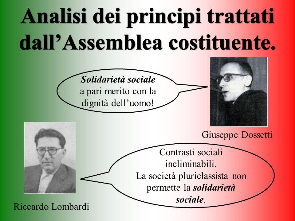 Solidarietà sociale a pari merito con la dignità delluomo! Giuseppe Dossetti Contrasti sociali ineliminabili. La società pluriclassista non permette l