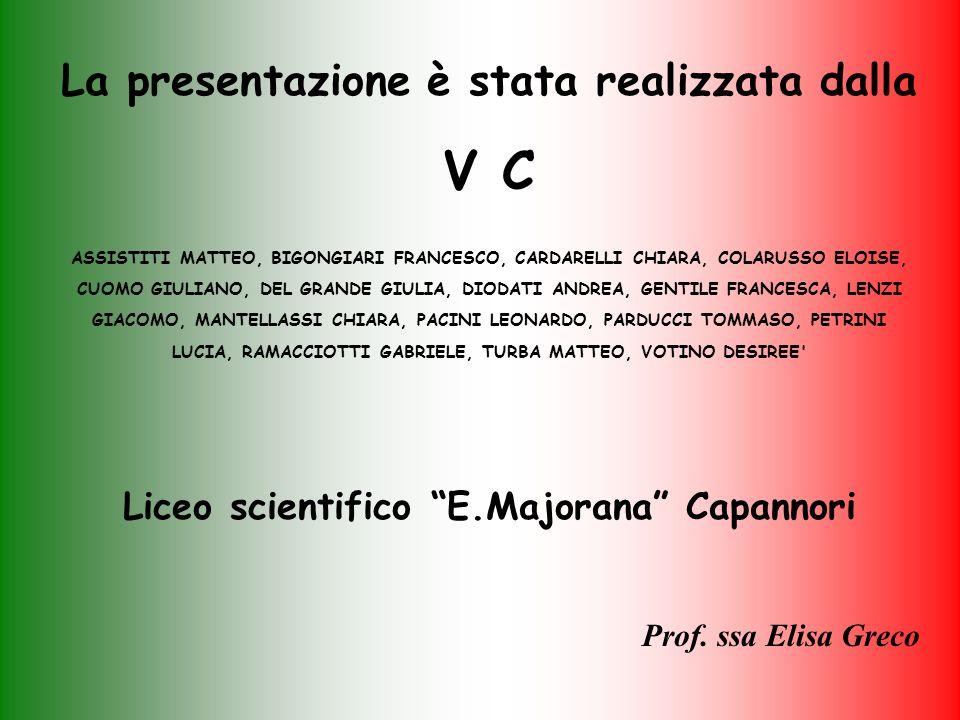 La presentazione è stata realizzata dalla V C ASSISTITI MATTEO, BIGONGIARI FRANCESCO, CARDARELLI CHIARA, COLARUSSO ELOISE, CUOMO GIULIANO, DEL GRANDE GIULIA, DIODATI ANDREA, GENTILE FRANCESCA, LENZI GIACOMO, MANTELLASSI CHIARA, PACINI LEONARDO, PARDUCCI TOMMASO, PETRINI LUCIA, RAMACCIOTTI GABRIELE, TURBA MATTEO, VOTINO DESIREE Liceo scientifico E.Majorana Capannori Prof.