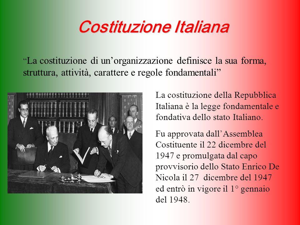 Costituzione Italiana La costituzione di unorganizzazione definisce la sua forma, struttura, attività, carattere e regole fondamentali La costituzione